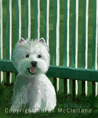 Highland Green, West Highland White Terrier print
